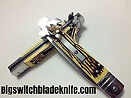 SWITCHBLADE AUTOMATIC LEVERTTO KNIFE. ANTLER BONE HANDLE. 7.5 INCHES TOTAL LENGTH