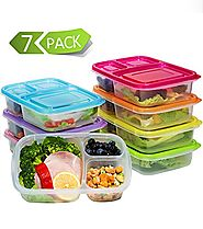Meal Prep Containers 3 Compartment,7 Pack Bento Lunch Box Portion Control,Food Storage with Lids,Stackable,Reusable,M...