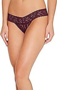 Hanky Panky Signature Lace Low Rise Thong, One Size, Dark Dahlia