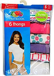 Fruit of the Loom Womens 6 Pack Cotton Thongs Panties (5)