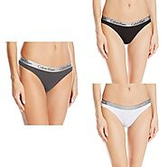 Calvin Klein Women's 3 Pack Logo Cotton Thong Panty, Ashford Grey/Black/White, Large