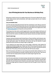 Use of Printing Services in Jacksonville for Your Business or Birthday Party