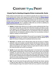 A Magazine Printer In Jacksonville, Florida – Century Type Print