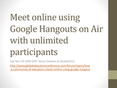 Meet online with unlimited users in Google+ Hangout