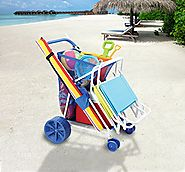 Folding Multi-Purpose Deluxe Beach Cart With Wide Terrain Wheels