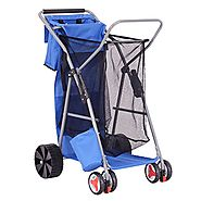 Goplus Folding Wonder Wheeler Beach Cart Wide Wheel w/ Removable Utility Bag, All-Terrain Rear Wheels