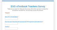 EVO: eTextbook Teachers Survey