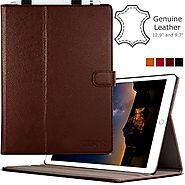 iPad Pro 12.9 Case (1st Gen) by Cuvr | Leather Folio Cover Stand with Apple Pencil Holder (Brown)