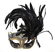 Costume Mask Feather Masquerade Mask Halloween Mardi Gras Cosplay Party Masque (Black)