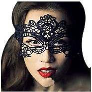 Dxhycc Lace with Rhinestone Liles Venetian Mask Masquerade Halloween Costume (Balck 1)