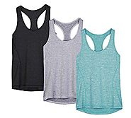 icyZone Activewear Running Workouts Clothes Yoga Racerback Tank Tops for Women (M, Black/Granite/Green)