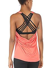 icyZone Yoga Tops Workouts Clothes Activewear Built in Bra Tank Tops for Women (L, Fusion Coral)