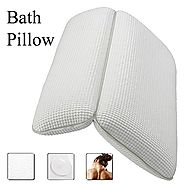 Ergonomic Non-Slip Spa Bath Pillow with Suction Cups Featuring Powerful Gripping Technology with 2-Panel Design,Fits ...