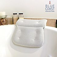 Blue Coast Collection–Bath Pillow for Tub with Konjac Sponge–Large Size for Bathtub, Hot Tub, Jacuzzi, and Home Spa–N...