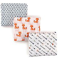 Hudson Baby Muslin Swaddle Blankets, Foxes