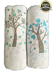 "Muslin Swaddle Blankets 2 Pack - Seben Baby - 47""x 47"" - 100% Cotton - Tree Bird and Owl - Unisex for Boys or Girls"