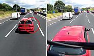 Driver cuts in front of a lorry, slams on brakes, gets rear-ended