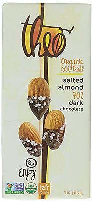 Theo Chocolate Dark Chocolate Bar, Salted Almond