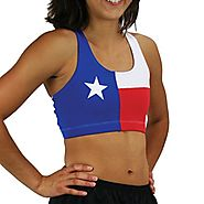 BOA Women's Flag Sports Bra (Texas, LARGE)