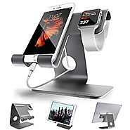ZVE Universal 2 in 1 Aluminum Desktop Cellphone Charging Stand with 42mm Case for Smartphone, iWatch and Tablets(Up t...