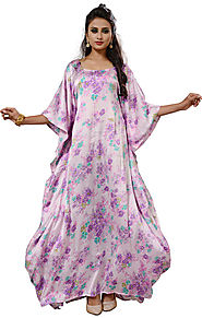 Buy Classical Cream Printed Best Satin Kaftan With Square Neck Pattern