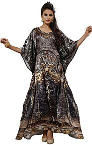 Buy Lovely Digital Printed African Satin Kaftan With Sweetheart Neck