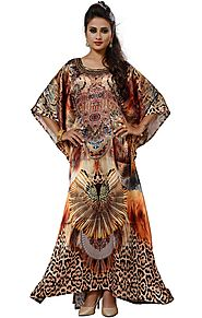 Buy Satin Kaftan With Modern Colorful Digital Print Square Neck Design