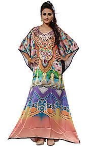 Buy Beautiful Multicolor Digital Print Satin Dress Kaftan With V-Neck