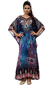 Buy Butterfly Style Digital Printed Satin Kaftan With Sweetheart Neck