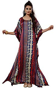 Buy Distinctive Printed Casual Wear Kaftan In Satin With Scoop Neck