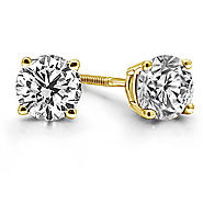 1/2 cttw. Prong Set Round Diamond Stud Earrings in 14K Yellow Gold