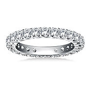 1 1/5 cttw. Classic Prong Set Round Diamond Eternity Ring in 18K White Gold