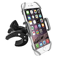 Bike Phone Mount Motorcycle Bicycle Holder, 360 Degree Rotatable Cell Phone Mount, Universal ATV, Bicycle Handlebar H...