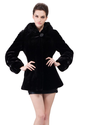 Faux black mink cashmere with black mink fur short fur coat