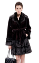 Faux red wine mink cashmere with black mink fur middle fur coat