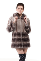 Faux gray mink cashmere with dark gray mink fur short fur coat