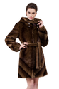 Faux brown mink fur with hat middle fur coat