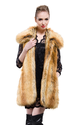 Yellowish faux wolf fur middle fur vest