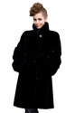 Classic black faux mink fur long fur coat