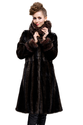 Dark coffee faux beaver long fur coat