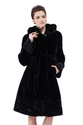 Faux black mink cashmere with mink fur collar long fur coat