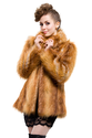 Faux brown raccoon fur short fur coat