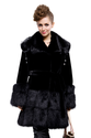 Black faux mink fur with faux black beaver fur collar long fur coat