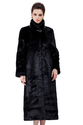 Faux black mink cashmere long fur coat