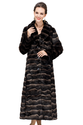 Faux chinchilla fur with sapphire button/long women fur coat
