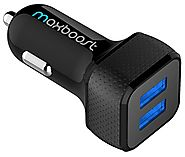 Car Charger, Maxboost 4.8A/24W 2 USB Smart Port Car Charger [Black] for iPhone 7 6S Plus 6 Plus 6 5SE 5S 5 5C, Samsun...