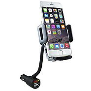 3-In-1 Cigarette Lighter Car Mount + Car Charger + Voltage Detector, SOAIY Car Mount Charger Holder Cradle w/ Dual US...