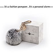 Miss Fong 130 DB Self Defense Keychain Personal Alarm for Security with Rabbit Fur Ball Pom Pom,Bag/Purse Clip (PPS-2...