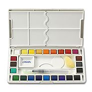 Jerry Q Art 24 Assorted Water Colors Travel Pocket Set- Free Refillable Water Brush With Sponge - Easy to Blend Color...