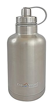 EcoVessel THE BOSS TriMax Insulated Stainless Steel Beer Growler Bottle With Tea And Fruit Infuser - 64 Ounces - Silv...